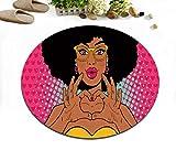Ragazza afro-americana ragazza di moda giovane nera rosa Antiscivolo Lavabile in lavatrice Tappeto rotondo Soggiorno Camera da letto Bagno Cucina Morbido Tappeto Tappeto Oggettistica per la casa,80x80 CM