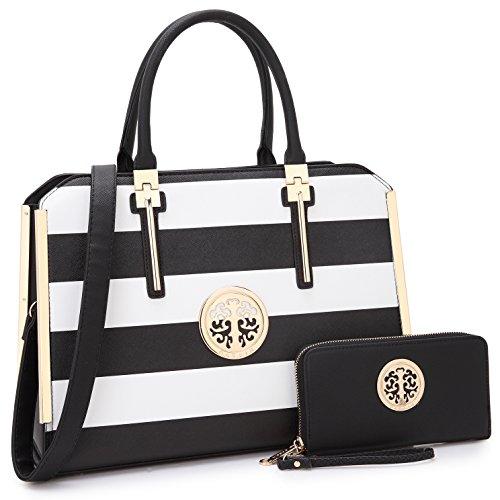 Gürtel Handtaschen für Frauen, vegan Leder Bicolor Vorhängeschloss, Top Griff Desginer Tote w/Brieftasche/Set