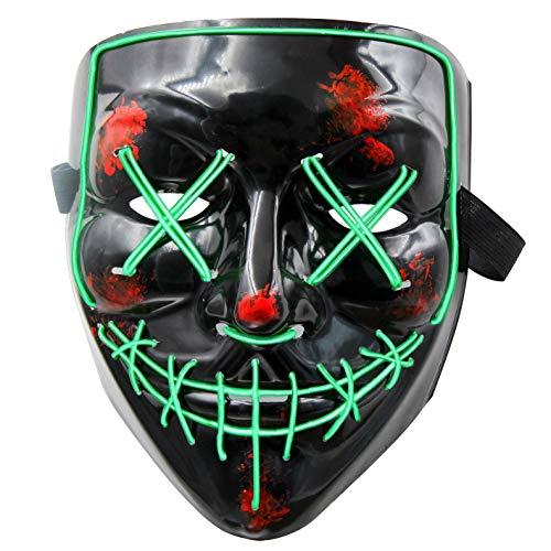 Kostüm Party Dekorationen - LED Maske Purge Maske mit 3 Blitzmodi für Halloween Fasching Karneval Party Kostüm Cosplay Dekoration Halloween Gruselige Maske(Grün)