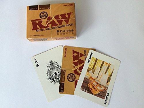 Raw Spielkarten, Design: Zigarettenpapier, klassische Bio-Hanf-Raucher-Illustration -