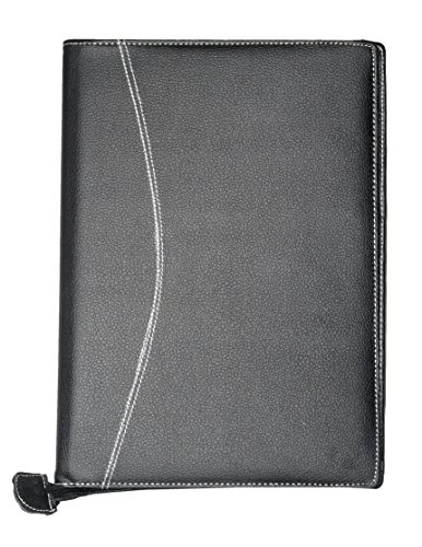 FREE DELIVERY!!!! - Khurana's Professional Black Leatherette Padfolio (in Matte Finishing) With 20 Fine Diamond Clear Document Sleeves To Store Your Important Full Size Size Documents & a Pen Holder
