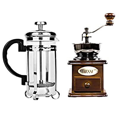 Kungix Manual Coffee Grinder, Stainless Steel Hand Crank Mill Wooden Drawer with Glass Bottle Pot by Holabuyer