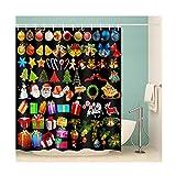Knbob Shower Curtain Anime Weihnachtsstil Bunt Duschvorhang 150X180CM mit Vorhanghaken Badezimmer Vorhänge