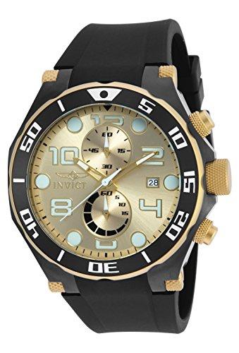 it Quarz Gold Zifferblatt Chronograph-Anzeige und schwarz Polyurethan Gurt 17815 (Invicta Watch Black Gold)