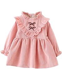 Ropa bebé Amlaiworld Niñas bebé otoño manga larga princesa vestido (18-24 Mes, Rosa)