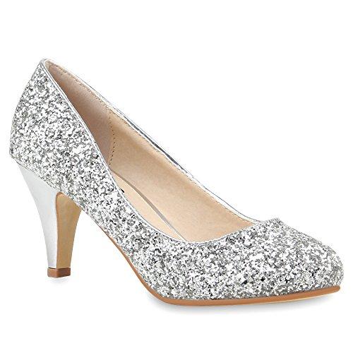 Stiefelparadies Damen Stiletto Pumps High Heels Glitzer Party Schuhe 105014 Silber 36 Flandell