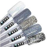 Color Gel 5er Set (je 5ml): Glitternails - Gel Silberglitter, Gel Weißglitter, Gel Multiglitter