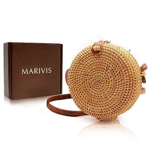 Gewebte Clutch-handtasche (MARIVIS runder Stroh-Rattan-Boho-Handtasche für Damen, handgefertigt, Clutch, gewebt)