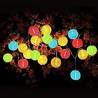 Ibello Guirlande Lumineuses Boule 20LEDs 3,2M Guirlande Lanterne Guinguette Papier Lampion LED Etanche Multicolore Pile Décoraion Chambre Intérieur Extérieur pour Jardin Noël Mariage Anniversaire