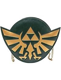 Bioworld NINTENDO Legend of Zelda Woman's Golden Hylian Royal Crest Ladies Purse with Chain, Dark Green Porte-monnaie, 21 cm, Vert (Green)