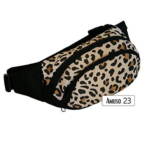 Rawstyle Bauchtasche Amuso *23 MOTIVE* (Leopard Hell) - Gürteltasche Jogging Angel Futter Leckerei Hüfttasche Sport NEU - Neu In Leopard