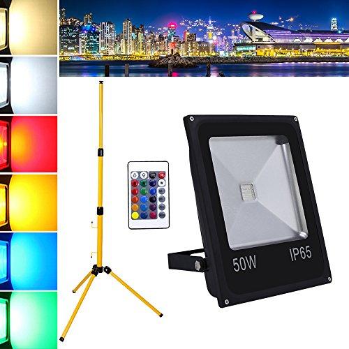 Hengda® 50W RGB LED Fluter Außen Strahler Flutlicht LED Scheinwerfer Baustrahler IP65 Garten Fassadenstrahler + Teleskop Stativ