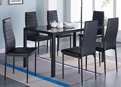 Tavolo In Vetro Con 6 Sedie.Pearlebs Tavolo Da Pranzo Di Design In Vetro Con 6 Sedie In Pelle