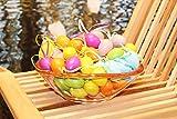Kamaca 48 Stück Bunte Ostereier aus Kunststoff mit Bändchen zum Aufhängen Kunststoffeier für innen und außen tolle Osterdeko Deko zu Ostern (48 Stück Pastell 4cm)