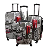 Best Suitcases Sets - Lightweight 4 Wheel Hard Shell PC London Printed Review