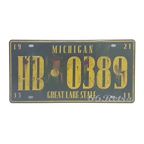 Michigan Ornament (66retro Michigan hb-0389, Great Lake von abgestandenem geprägt, Vintage Metall blechschild, Wand Deko Schild)