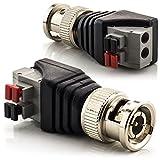 zanasta [2 Stück] BNC Stecker Terminalblock Connector zu 2 Pol Adapter, Kabel Verbinder mit Tastenklemme Schwarz-Grau