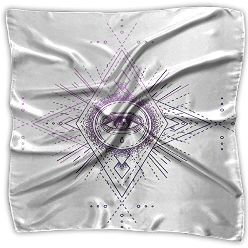 TGSCBN Heiliges Geometrie-Symbol mit allem sehenden Auge White Mystic Alchemy Occult für Indie-Musik-Album Boho Square Scarf Womens