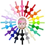 HowYouth Baby Girl's Hair Accessories 20Pcs Stretchy Headbands Grosgrain Ribbon Boutique Bow Headbands for for Babies Toddler Kids (2.5inch)