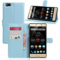 For ELEPHONE M2[Concise]Fashion Cute Magnetic Snap Wallet Card Flip Synthetic Holster Leather Stand With TPU Case Cover -BLU