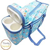 Trendy Dukaan™ Baby Mother Warmer Bag With Thermal Warmer - Multi Compartment Multipurpose Diaper/Mother Bag With Bottle Holder (Light Blue)