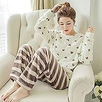 YTNGA Pijamas De Mujer Pijamas de Mujer de otoño e Invierno Ropa de Dormir Engrosada, cálida y Dulce, para Mujer, térmica, Blanca, M
