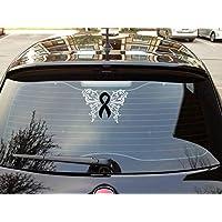 Cancer Awareness Car Decals Skin Cancer Ribbon Melanoma Cancer Awareness Ribbon Black Ribbon Window Decals Car Window Rememberance Ribbon