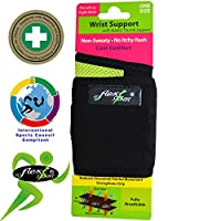 Wrist Wrap Brace Styled for GOLFERS, NON SWEAT, perfecting thumb to wrist alignment, strengthening wrist and grip, improving accuracy. NON TOXIC, ODOURLESS, NON Neoprene/Latex. ONE-SIZE (length 36cm) L/R fit, UNISEX.