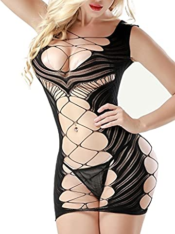 Fashion Design Lingerie Baby Dolls FasiCat Negligees for Women Chemise Hot Mini Dress Black