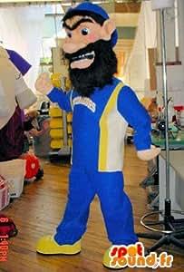 Mascotte SpotSound Amazon personnalisable d'ogre, d'homme barbu en survetement. Costume de barbu