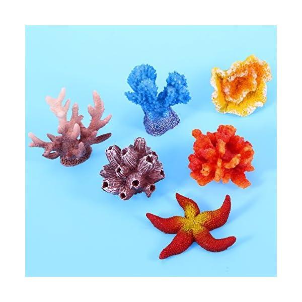 UEETEK 6 Pcs Multicolor Aquarium Decor Artificial Sea Star Fake Coral Hiding Ornament for Fish Tank Decoration