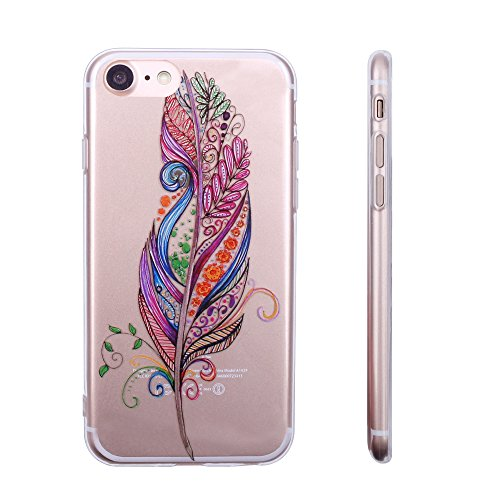 iProtect TPU Schutzhülle Apple iPhone 7, iPhone 8 Softcase Hülle Affen Emojis transparent Mandala Feder