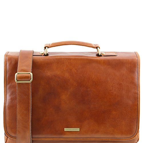 Tuscany Leather 81414504 MANTOVA - TL SMART Multifach-Aktentasche aus Leder mit Klappe, Honig