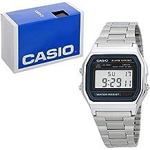 Casio A158WA - Reloj unisexo, correa de acero inoxidable color plateado
