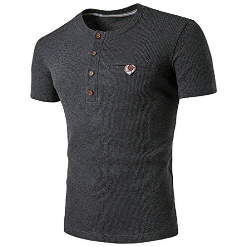 Malloom Neue heiße Männer dünne Sport-Kurzschluss-Hülse O-Ansatz beiläufige Polo-Hemd-T-Shirts (XXL, Dunkelgrau)