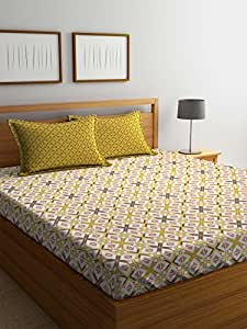 Trident Comfort Living 120 TC Cotton Bedsheet with 2 Pillow Cover - Geometric, Queen Size, Brown