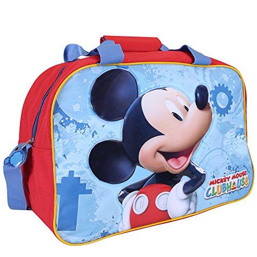 Perletti borsa sportiva bambino topolino – borsone sport per palestra viaggio e tempo libero con stampa di mickey mouse – rosso e azzurro – 40x30x20 cm