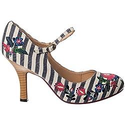 Bailando días kalocsai floral boho Folk Vintage Retro Años 70 Zapatos de tacón alto - Naútico Azul, 5 UK