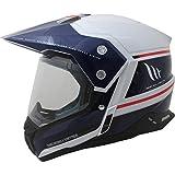 MT Synchrony Vintage SV Dual Sport Helmet XL White Blue Neon Red
