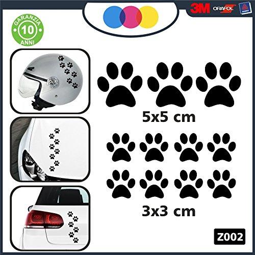 10 zampette adesive Adesivi per Auto Moto CASCHI - - 3 Adesivi 5X5 Centimetri - 7 Adesivi 3X3 Centimetri - Auto Macchina - novità!! Auto Moto Camper, Stickers, Decal Z-001-7 (Nero)