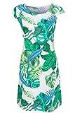 GS-Fashion Leinenkleid Damen Sommer mit Blumen Kleid ärmellos Knielang Weiß-Grün 42