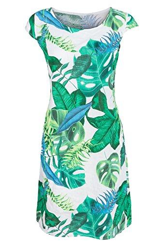 GS-Fashion Leinenkleid Damen Sommer mit Blumen Kleid ärmellos Knielang Weiß-Grün 38 Blume Kleid Kleider