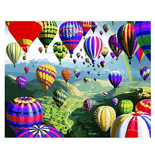 Hyllbb Wohnzimmerdekoration, Malen Nach Zahlen Auf Leinwand, Bunter Ballon, Leinwandbilder Für Wohnzimmer-40 * 50Cm,With Frame