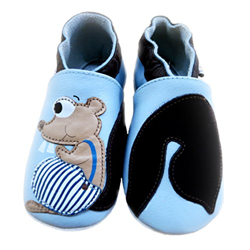 Lait et Miel Leder Lauflernschuhe Krabbelschuhe Babyschuhe mit Motiv Eichhörnchen blau blue 0-6 Monate Eichhörnchen