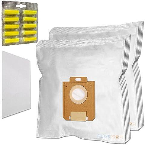 SET 10 Sacchi / Sacchetti (Microfibra) + 10 PROFUMI + 1 Filtro Per aspirapolvere Electrolux Ergospace XXL Box 1 - Box 10 Sacchetti Filtro