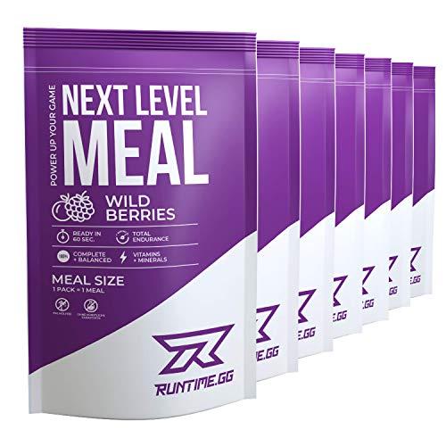 Runtime Next Level Meal Wild Berries - vollwertiger Mahlzeitersatz für langanhaltende Sättigung, Energie, Konzentration und Leistungsfähigkeit, mit Vitaminen und Nährstoffen, 7 x 150g