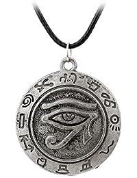 Fengteng El Ojo de Horus Amuleto Collar Colgante con Cadena Para Hombres Mujeres