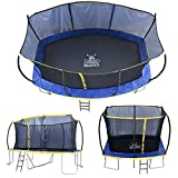 ZERO GRAVITY Ultima 5 Rectangular Barrel Trampoline in 3 Sizes. High Specification with Safety Enclosure Netting and Ladder (12ft x 8ft)