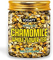 YOGAFY - Organic Chamomile Whole Flower Calming Herbal Tea | Caffeine Free Calming Tea | 50g- 80 Cups |