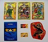Lego Ninjago Serie 3 - 3 limitierte Gold Karten Trading Cards LE 9 Heldenhafte Hurami, LE 10 Spinjitzu Meister Team, LE 11 Garmadons Motorrad Gang, + 1 Ninjago Schútzhülle